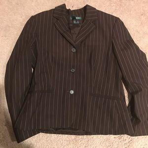 Ralph Lauren 12 brown blazer stripes AA95